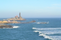 Thiruvalluvar Statue is a 133 feet (40.6 m) tall stone sculpture of the Tamil poet and philosopher