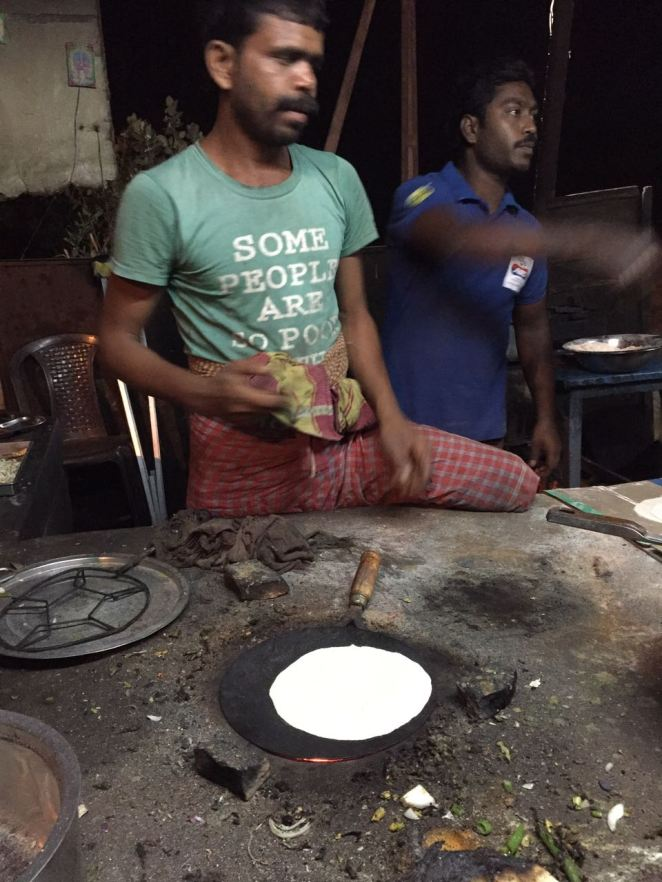 Mr. Anil is a cook at one of the dhaba in AP near Ichchapuram. He had lost one of his leg during his tenure in the army. All respect sir !